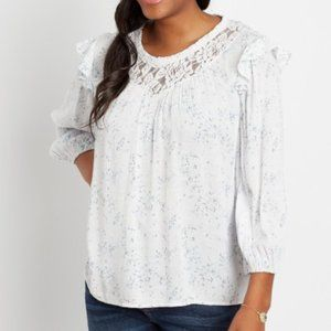 Blue Floral Lace 3/4 Sleeve Swing Top  - XL